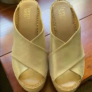 Shiny sparkly slides-wedge heel!